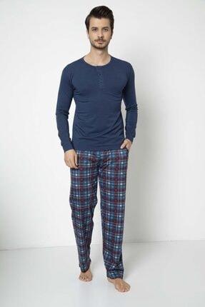 Erkek Modal Altı Ekoseli Üstü Düz Pijama Takımı PTEE03874