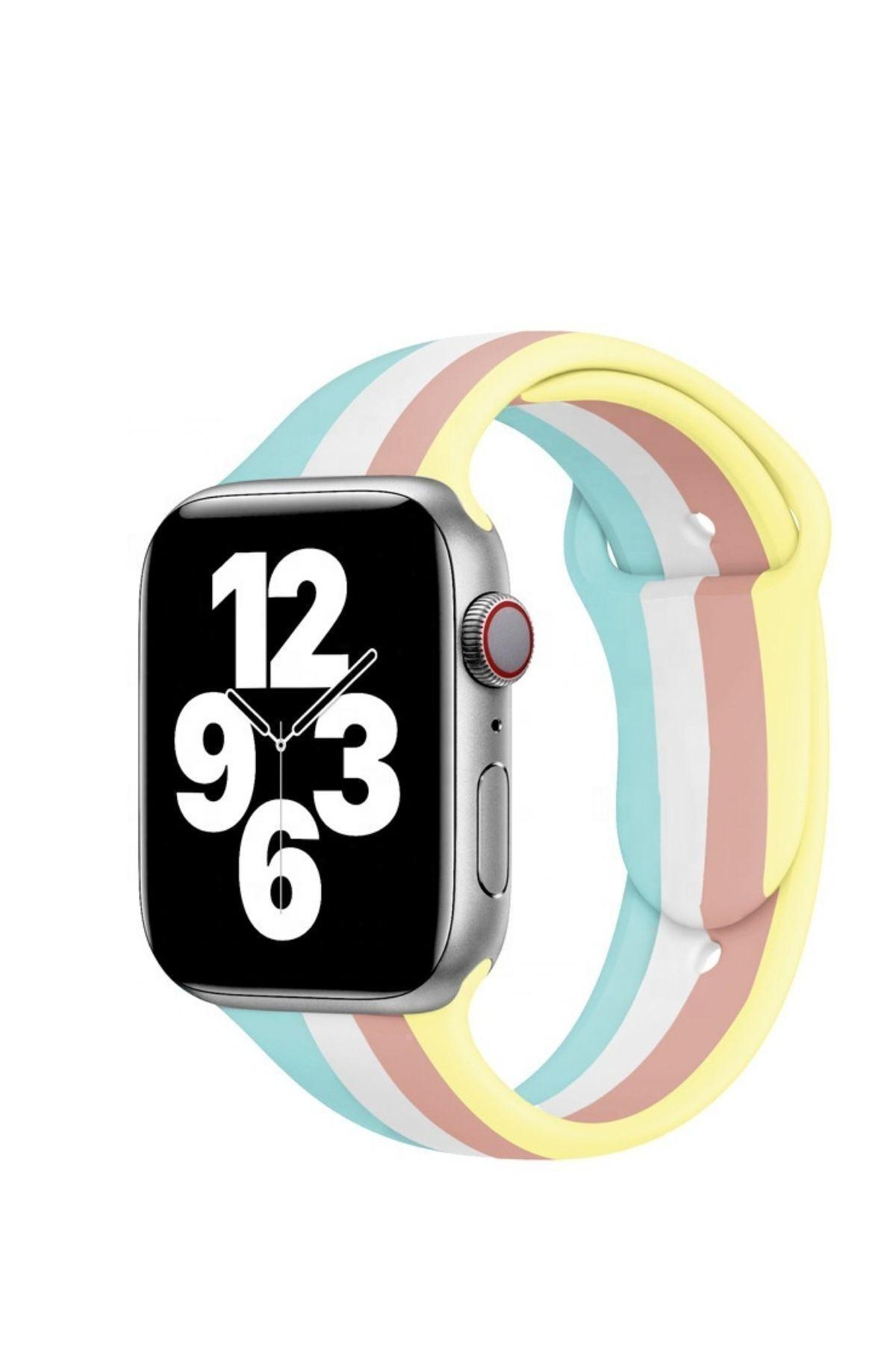 Apple Watch 1-2-3-4-5-6-se Serisi ( 38mm - 40mm ) Uyumlu Renki Yeni Silikon Kordon