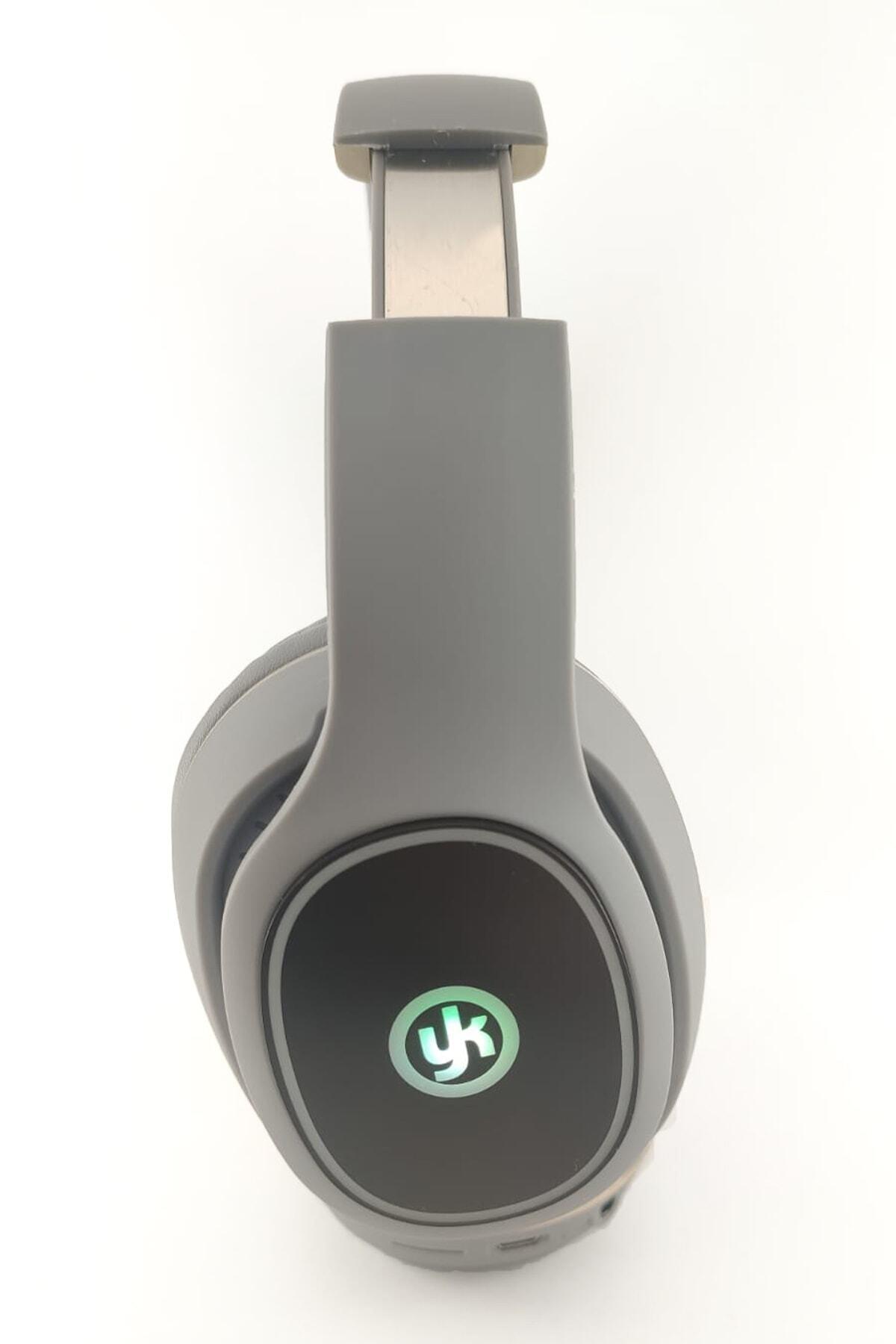 Kablosuz Rgb Led Işıklı Bluetooth Stereo Kulaklık Gri + Sd Kart Yk-811
