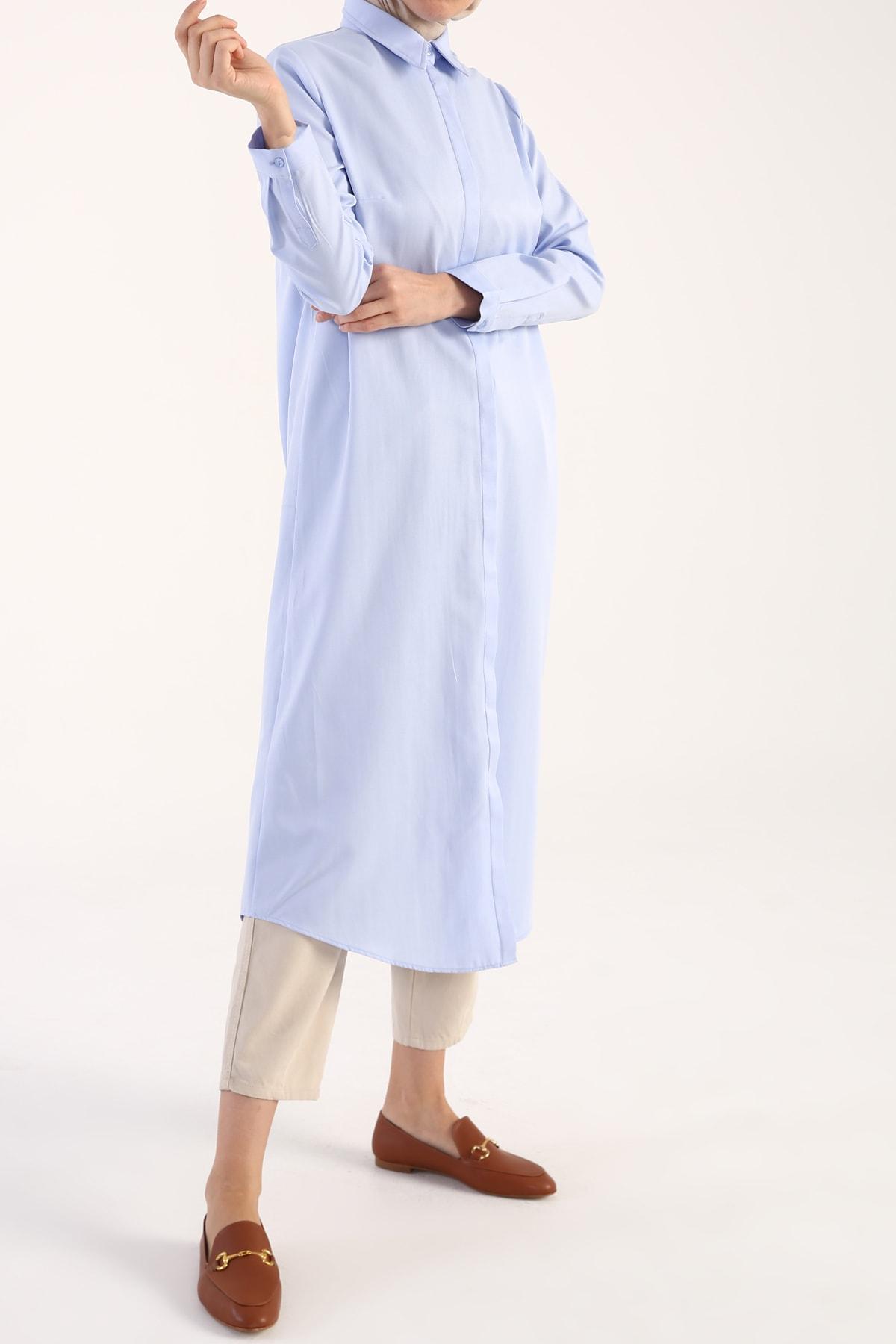 Mavi Pamuklu Uzun Gömlek