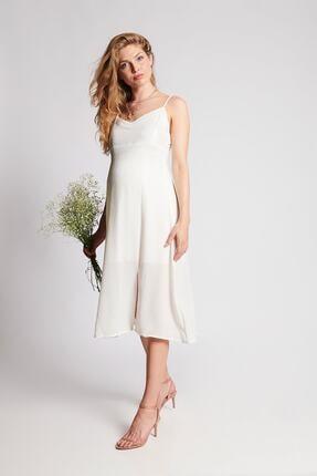 Hamile Carolina Elbise - Beyaz M2552