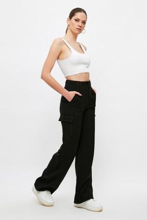 TRENDYOLMİLLA Siyah Cep Detaylı Pantolon TWOSS21PL0288 1