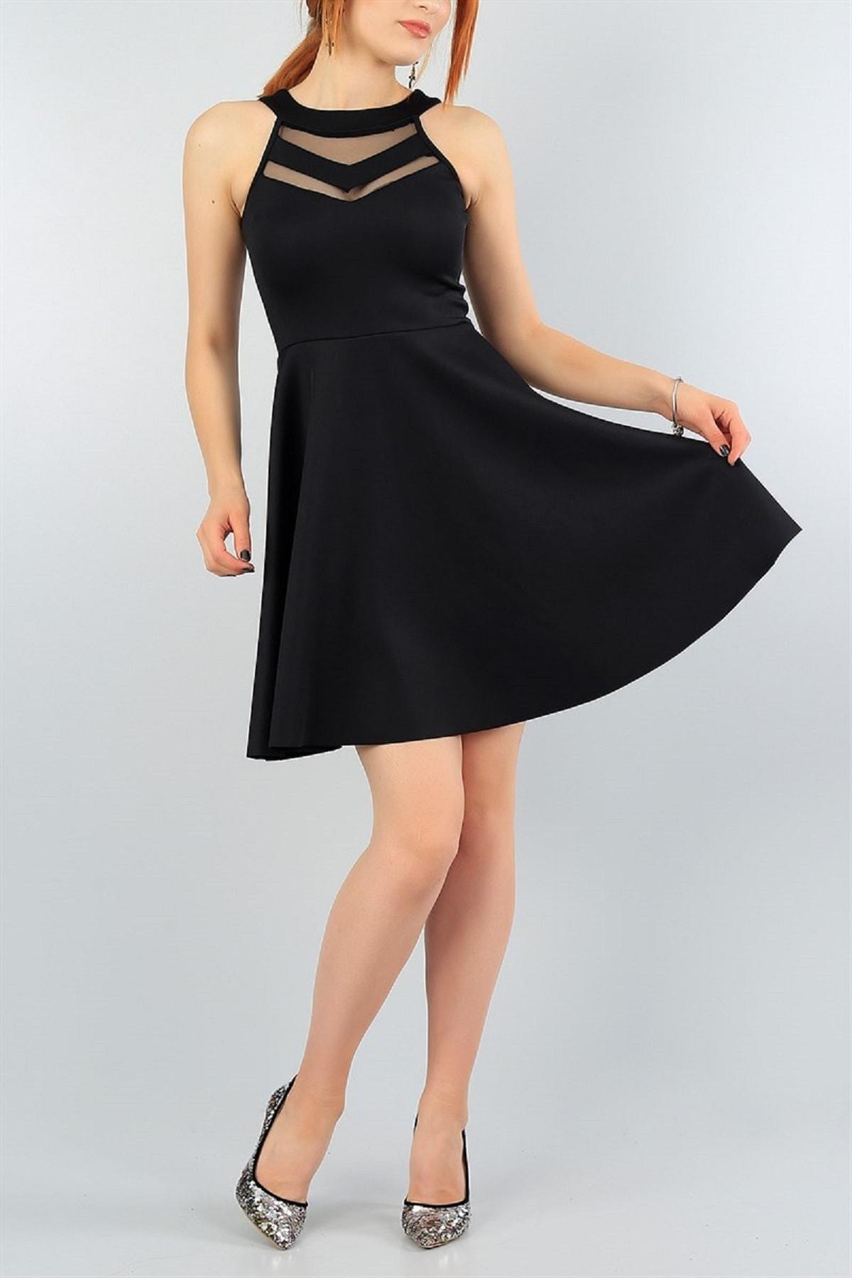 Esnek Kumaş Transparan Detay Siyah Abiye Elbise Kına Nişan Mezuniyet Elbisesi 2222