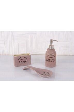 Porselen Mutfak Seti Süngerlik,kaşıklık,sıvı Sabunluk PRA-4051363-4143