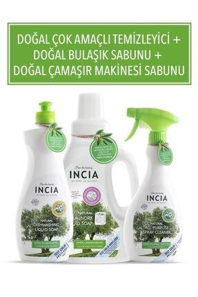 INCIA Doğal Çok Amaçlı Temizleyici 500 ml Bulaşık Sabunu 500 ml ve Çamaşır Makinesi Sabunu 1