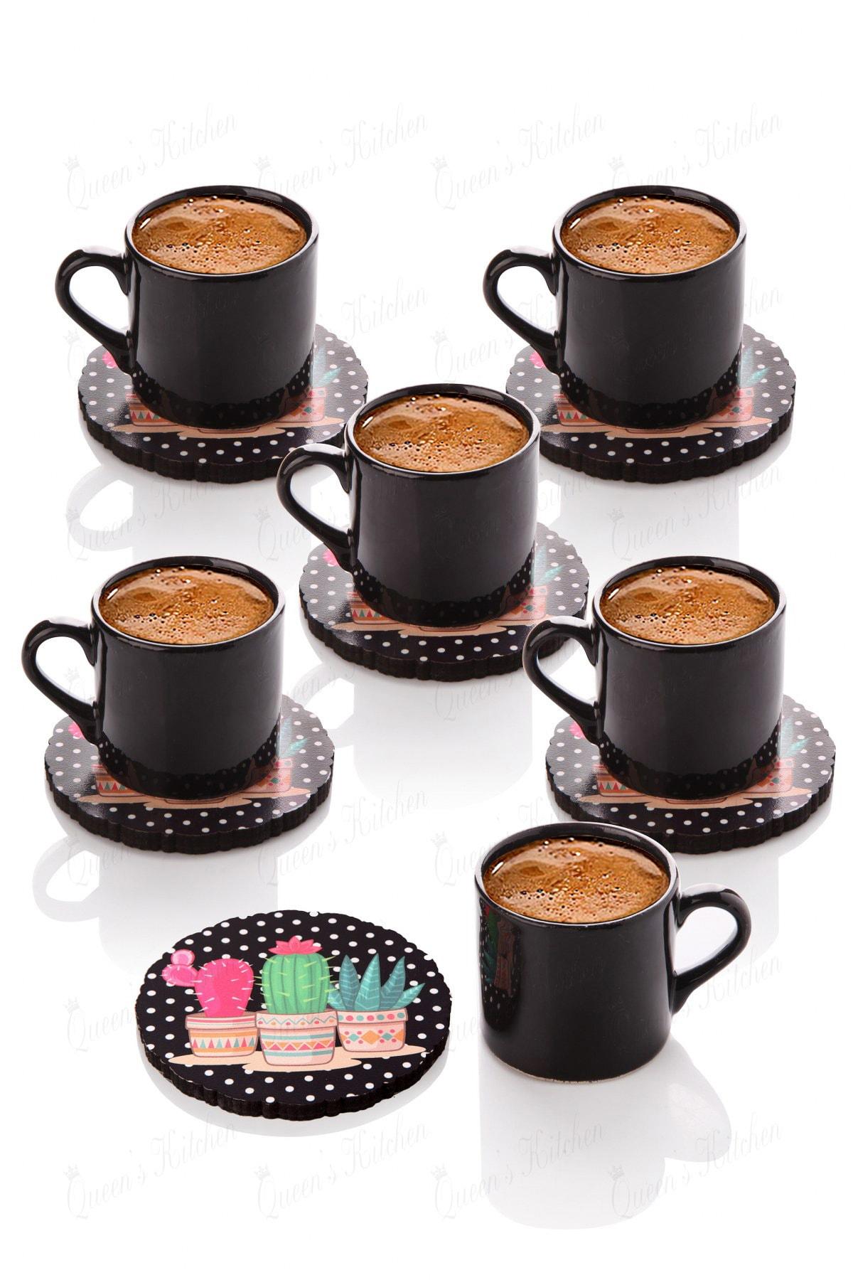 6 Kişilik Kaktüs Tabaklı Türk Kahvesi Takımı