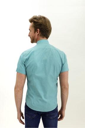 Kiğılı Kısa Kol Hakim Yaka Desenli Slim Fit Gömlek 4