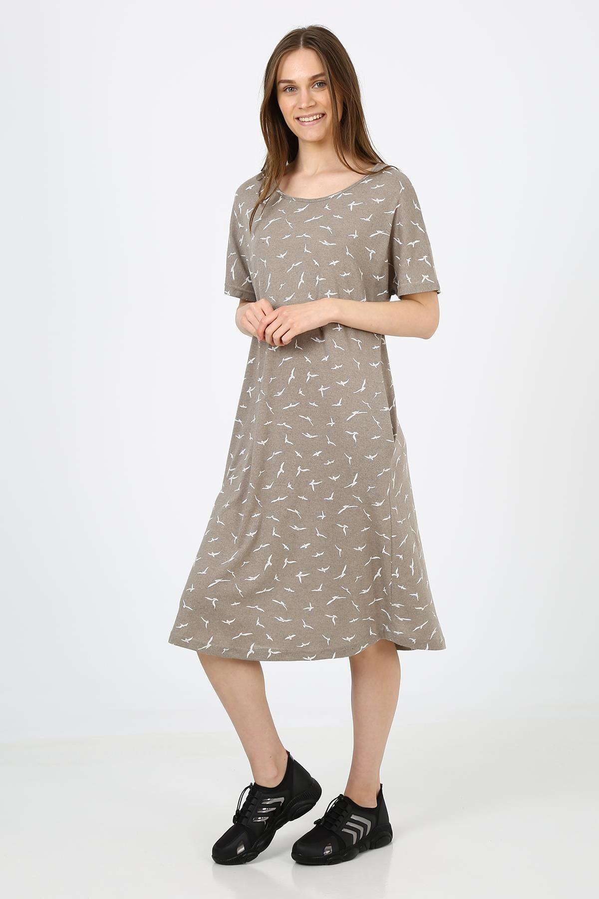 Desenli Cepli Günlük Elbise (