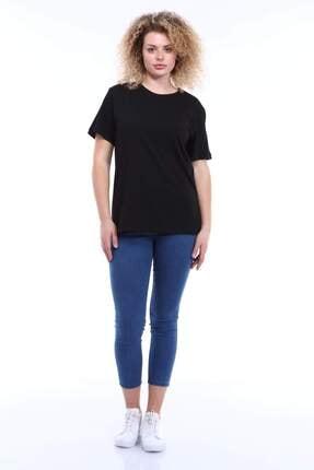 Picture of Kadın Siyah Büyük Beden Yuvarlak Yaka T-shirt Tc02