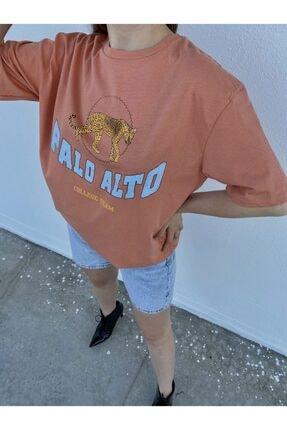 Tuğbanın Butiği Kadın Palo Alto Baskılı Mercan Renk T-shirt 1