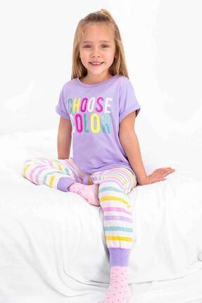 Picture of 2466 Kız Çocuk Choose Color Lila Kısa Kol Pijama Takım