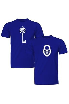 Sevgili Çift Kombinleri Kilit Anahtar 2 Ürün Mavi Tişört ST153SCK1122