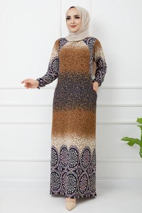Desenli Uzun Kollu Maxi Elbise 2008