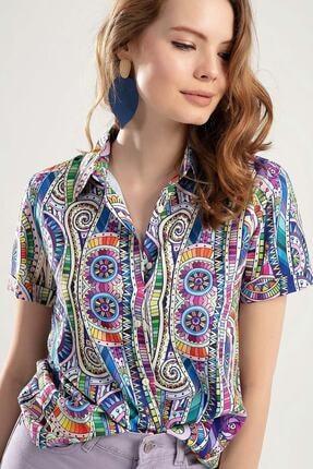 Pattaya Kadın Çok Renkli Dijital Baskılı Duble Kol Gömlek PTTY20S-364 2