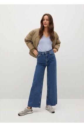 Mango Kadın Mavi V Yakalı Pamuklu Tişört 1
