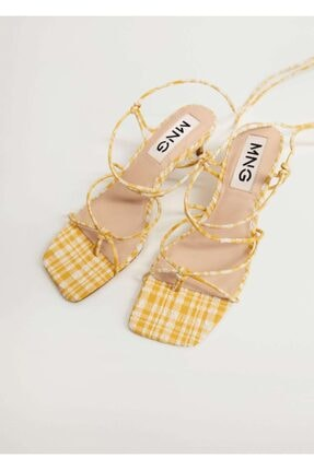 Mango Vichy Kareli Bantlı Sandalet 3