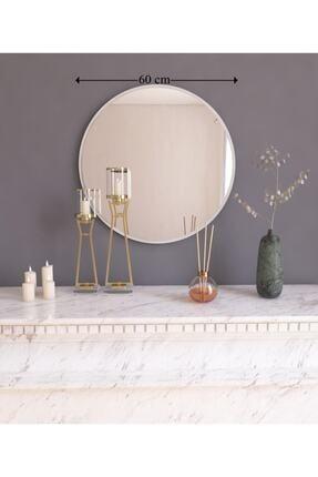 MONEayna Dekoratif Yuvarlak Ayna Beyaz Antre Hol Koridor Duvar Salon Mutfak Banyo Wc Ofis Aynası 4