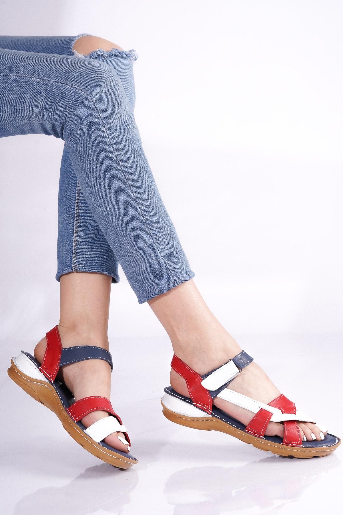 Hakiki Deri Lacivert Beyaz Kırmızı Kadın Sandalet