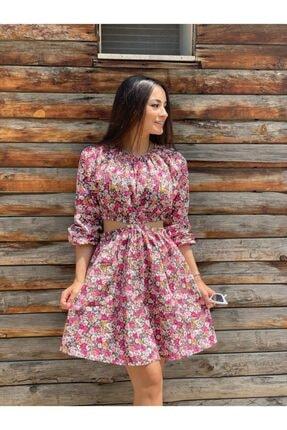 Bel Dekolteli Çiçekli Elbise 102010ELBS0017