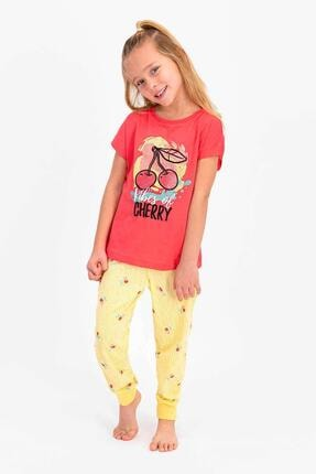 Picture of 2410 Kız Çocuk Vibes Of Cherry Nar Çiçeği Kısa Kol Pijama Takımı