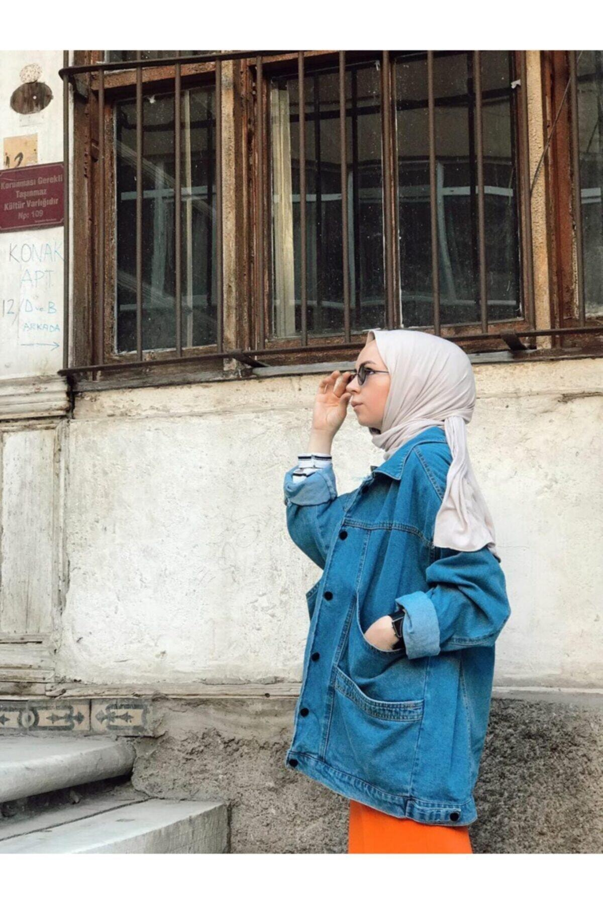 Kadın Mavi Wintage Oversize Kot Ceket Lrx1125