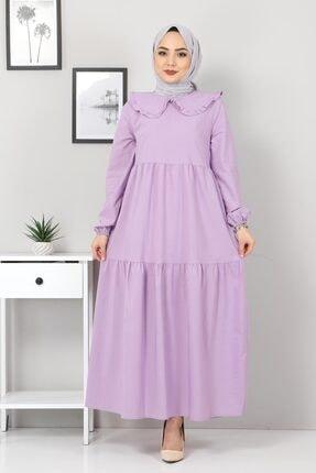 تصویر از Bebe Yaka Tesettür Elbise Tsd0706 Lila