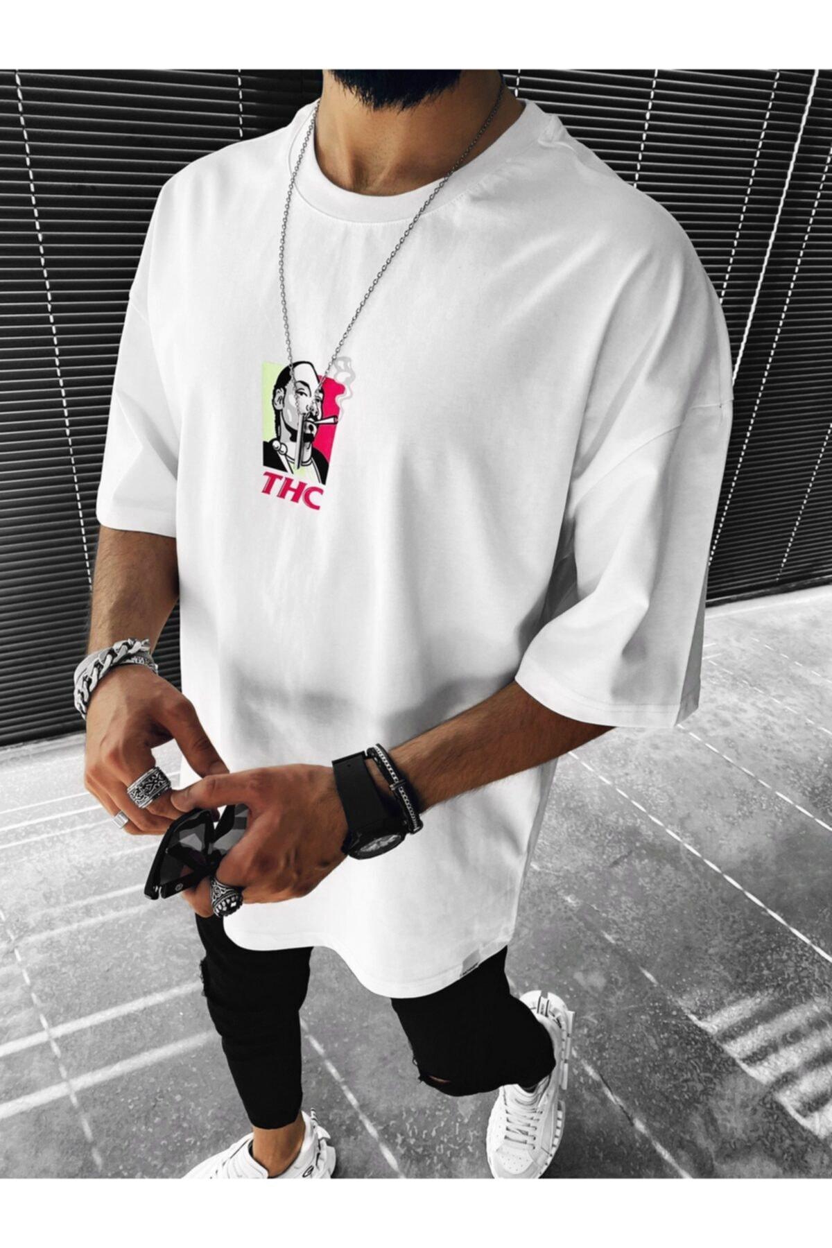 Erkek Beyaz Oversize Snoop Dogg Baskılı T-shirt
