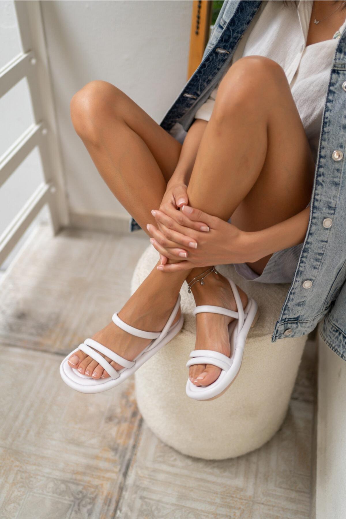 Marylan Kadin Beyaz Vegan Deri Sandalet