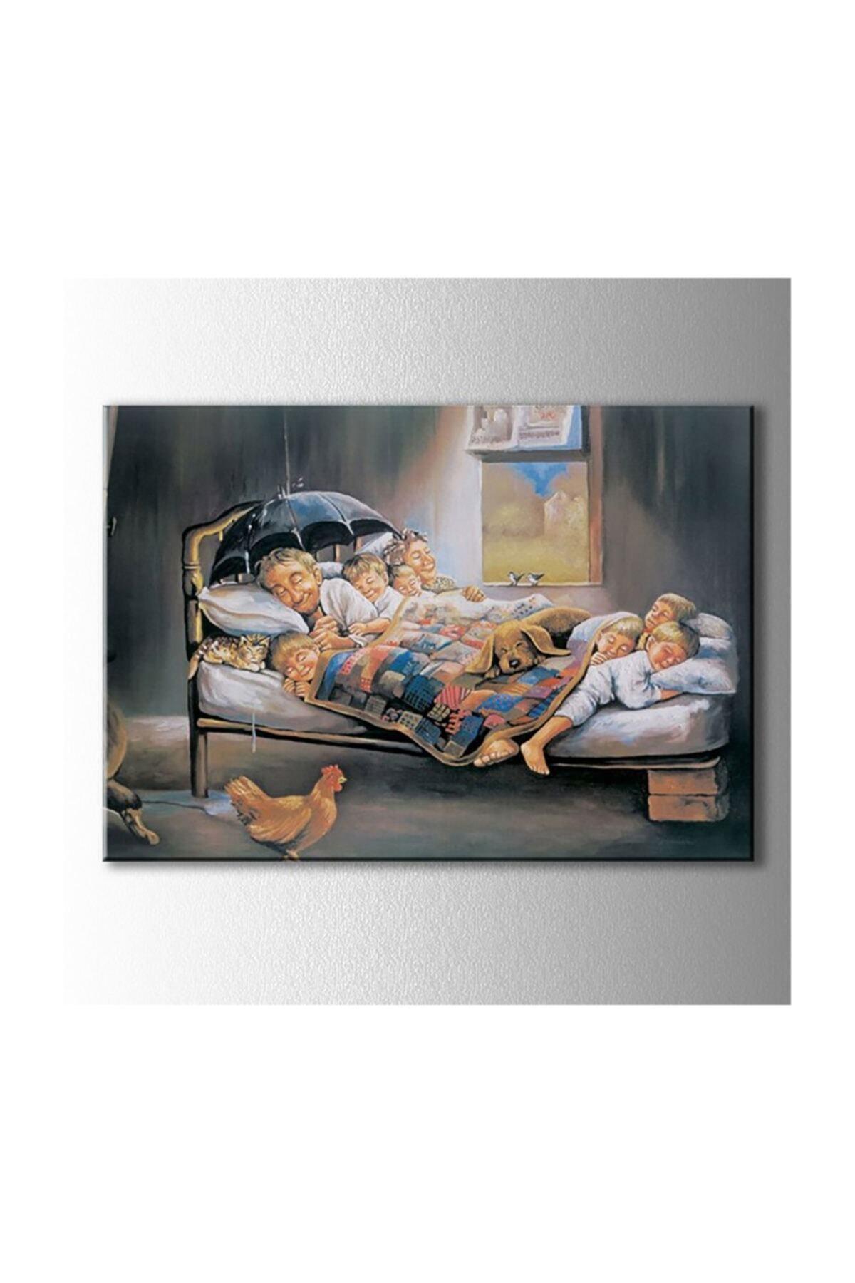 Kanvas Tablo Ledli Mutluluğun Resmi Duvar Dekorasyon Moda Işıklı Tablo 60 X 90 Cm
