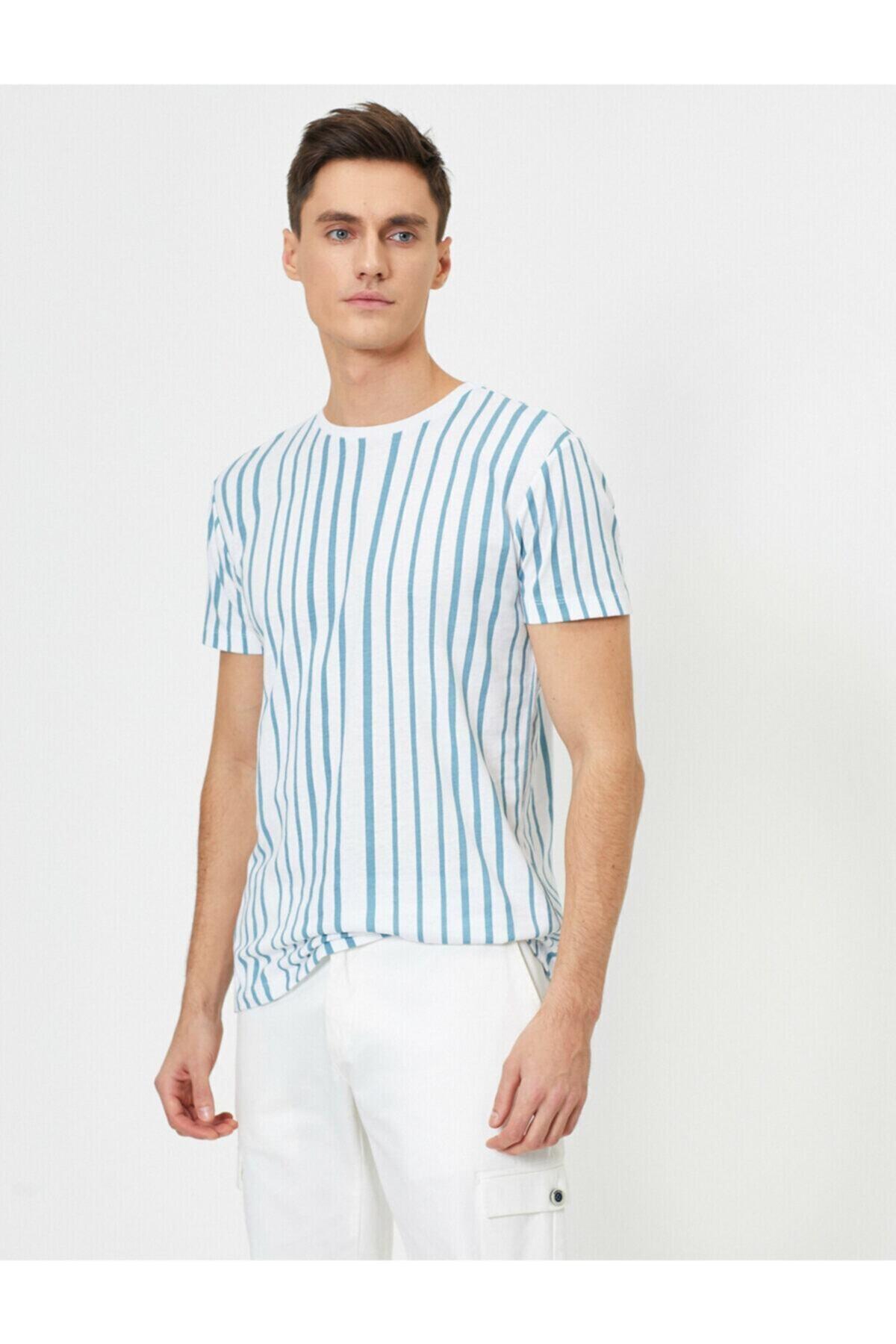 Erkek Mavi Bisiklet Yaka Çizgili Baskılı Slim Fit T-shirt