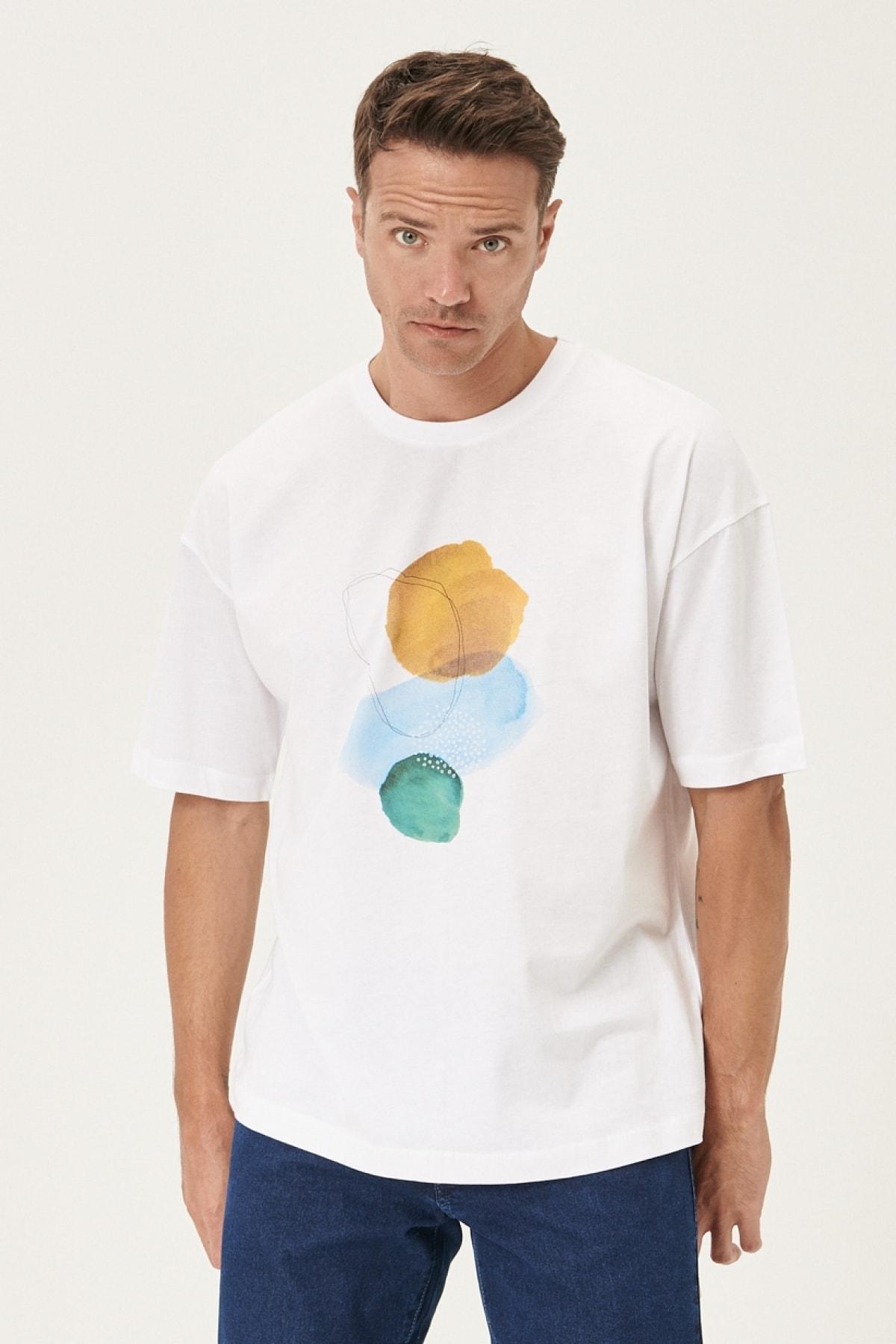 Erkek Beyaz Oversize Bisiklet Yaka Baskılı %100 Koton Tişört