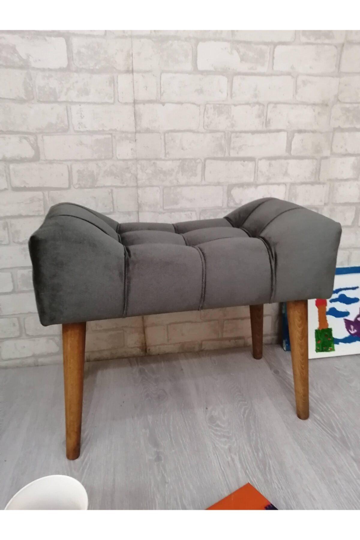 Puf Antrasit Gri , Ahşap Ayaklı ,spor Puf , Modern Tasarım 33049