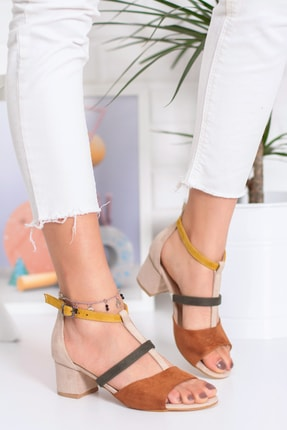 Snowberry Diana Topuklu Süet Sandalet Renkli 1
