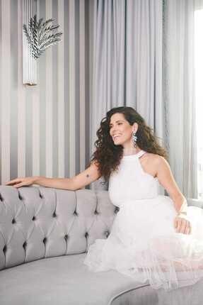 Hamile Mına Tul Elbise/Beyaz M1954