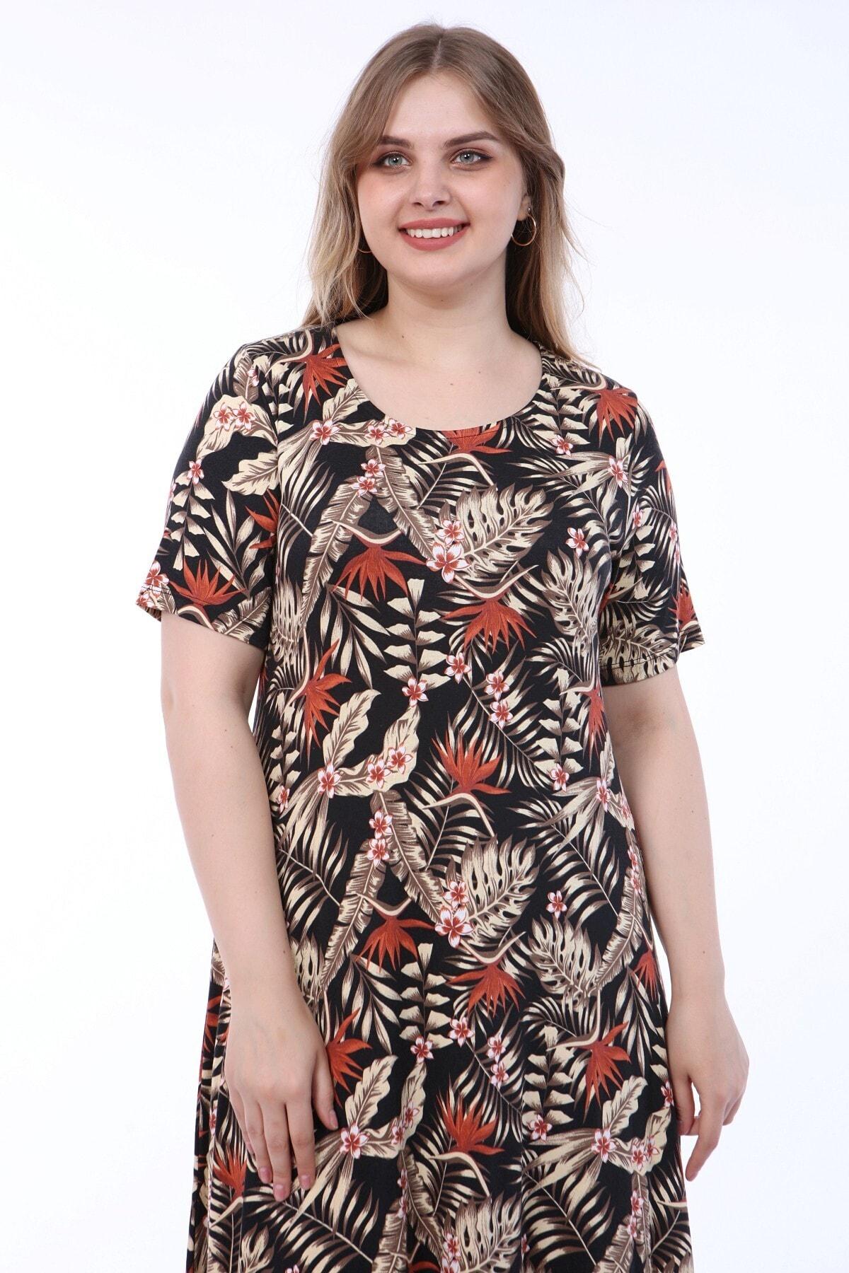 Geniş Beden Desenli Siyah Zemin Üzeri Bej Yapraklı Elbise