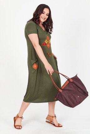 Womenice Kadın Haki Önü Üçgen Püsküllü Büyük Beden Elbise 3