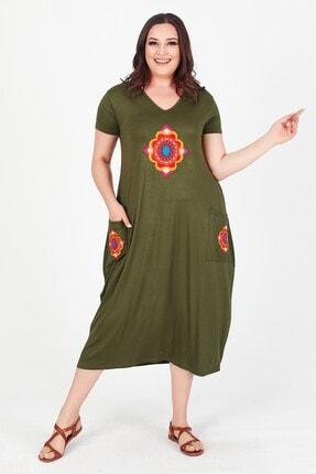 Womenice Kadın Haki V Yaka Önü Cebi Nakışlı Büyük Beden Elbise 2