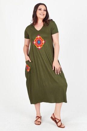 Womenice Kadın Haki V Yaka Önü Cebi Nakışlı Büyük Beden Elbise 3
