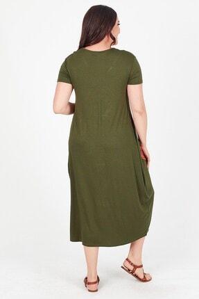 Womenice Kadın Haki V Yaka Önü Cebi Nakışlı Büyük Beden Elbise 4