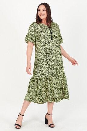 Womenice Kadın Yeşil Yakası Bağlamalı Leopar Desenli Büyük Beden Elbise 1