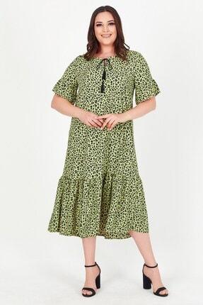 Womenice Kadın Yeşil Yakası Bağlamalı Leopar Desenli Büyük Beden Elbise 2
