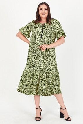 Womenice Kadın Yeşil Yakası Bağlamalı Leopar Desenli Büyük Beden Elbise 3