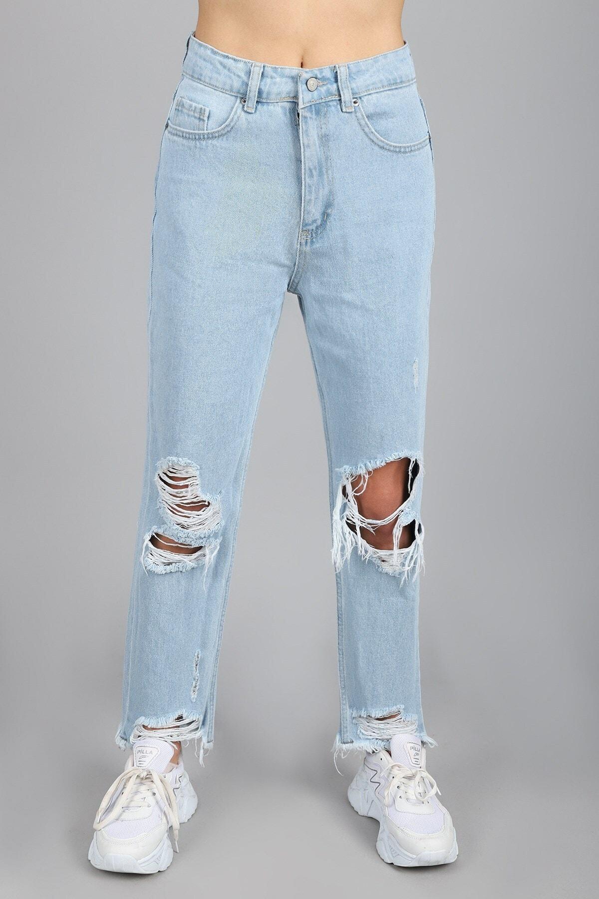 Kadın Yüksel Bel Tam Kalıp Yırtık Yamalı Lazer Buz Mavi Jean Pantolon