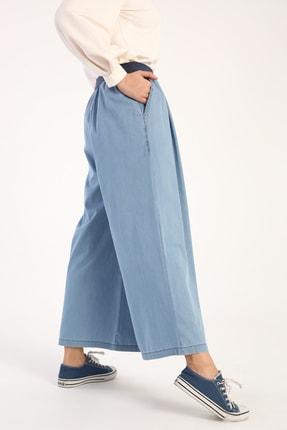 Picture of Açık Mavi Beli Lastikli Bol Paça Pantolon