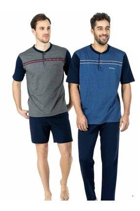 Picture of 5447 Erkek 3'lü Yazlık Set Mavi Üç Düğmeli Pijama Takımı