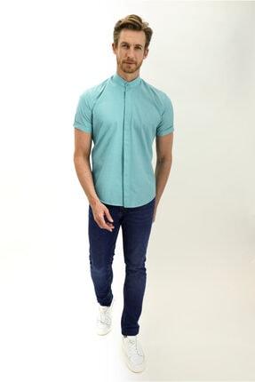 Kiğılı Kısa Kol Hakim Yaka Desenli Slim Fit Gömlek 1