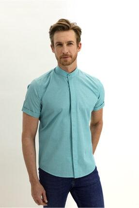 Kiğılı Kısa Kol Hakim Yaka Desenli Slim Fit Gömlek 2