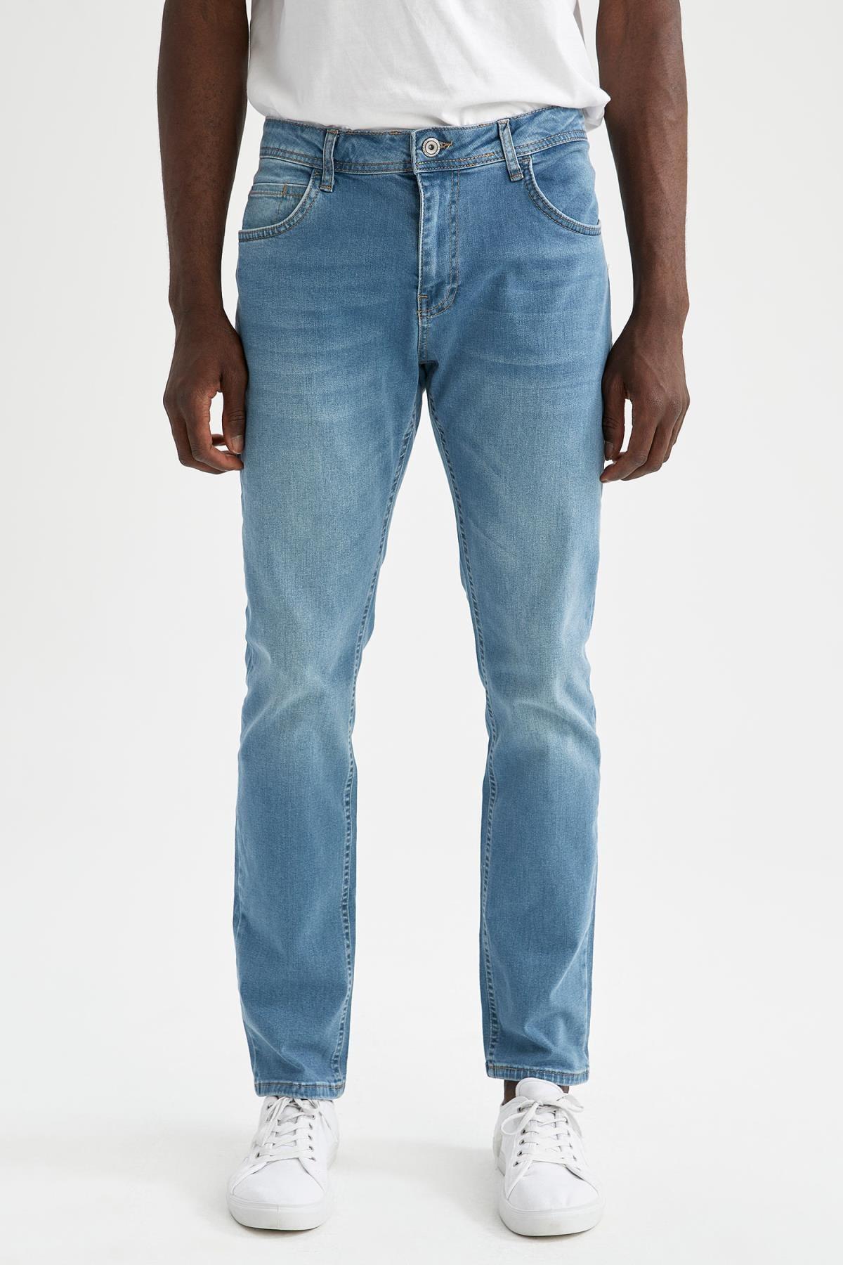 Erkek Yeşil Sergio Regular Fit Normal Bel Boru Paça Jean Pantolon U6357AZ21SMNM