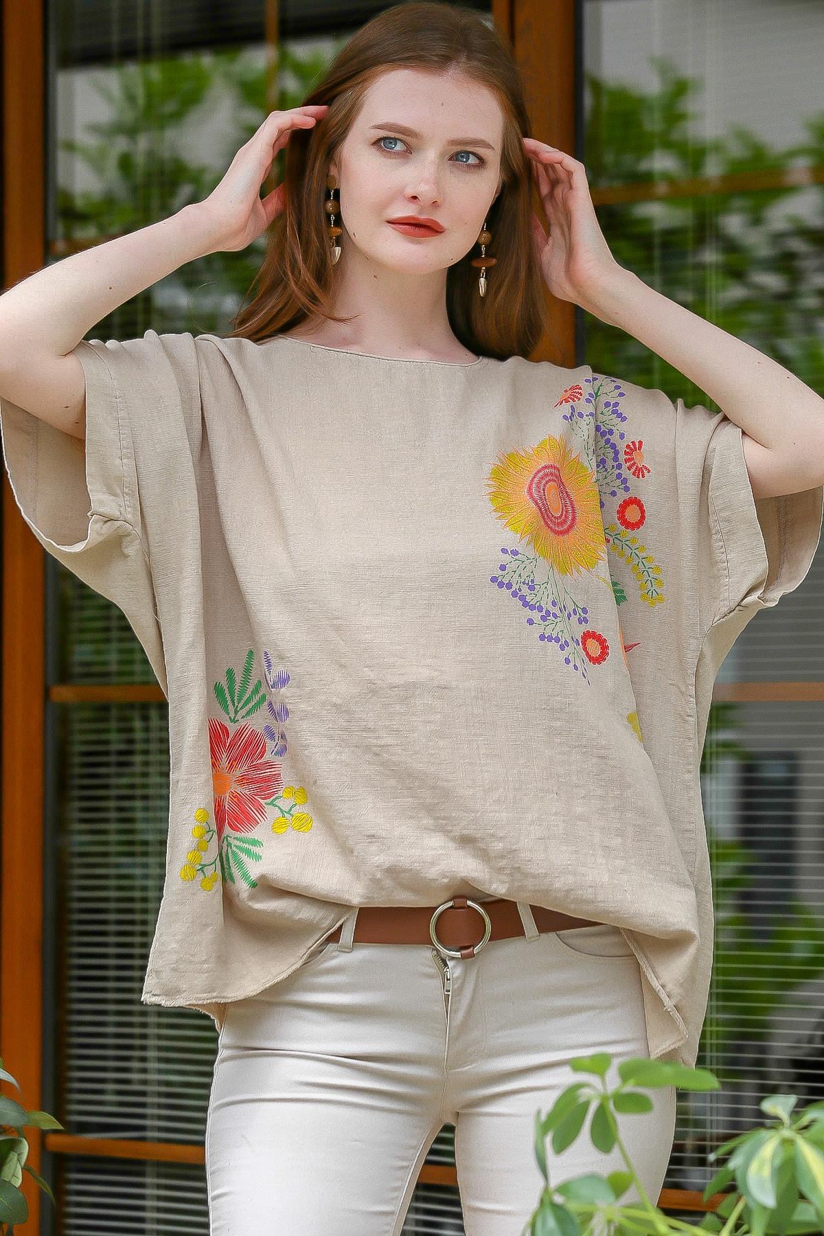 Kadın Bej Sıfır Yaka Günebakan Çiçek Desenli Salaş Dokuma Bluz M10010200BL95412