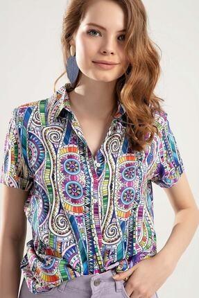 Pattaya Kadın Çok Renkli Dijital Baskılı Duble Kol Gömlek PTTY20S-364 0